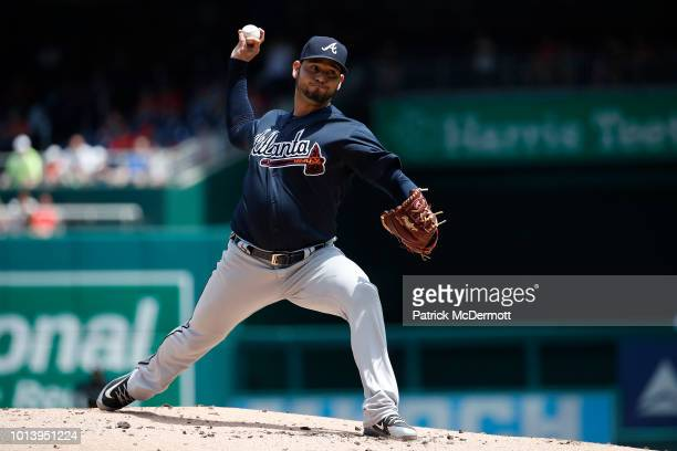 Starting pitcher Anibal Sanchez of the Atlanta Braves pitches in the first inning against the Washington Nationals at Nationals Park on August 9 2018...