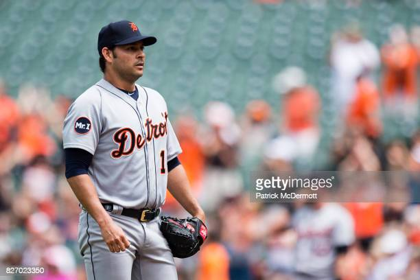 Starting pitcher Anibal Sanchez of the Detroit Tigers reacts after giving up a solo home run to Chris Davis of the Baltimore Orioles in the first...