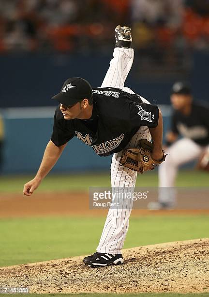 Starting pitcher Anibal Sanchez of the Florida Marlins follows through on a pitch against the Houston Astros at Dolphin Stadium on July 14 2006 in...