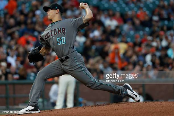 Starting pitcher Anthony Banda of the Arizona Diamondbacks delivers a pitch against the San Francisco Giants during the first inning at ATT Park on...