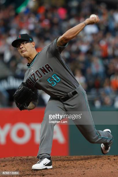 Starting pitcher Anthony Banda of the Arizona Diamondbacks delivers a pitch against the San Francisco Giants during the second inning at ATT Park on...