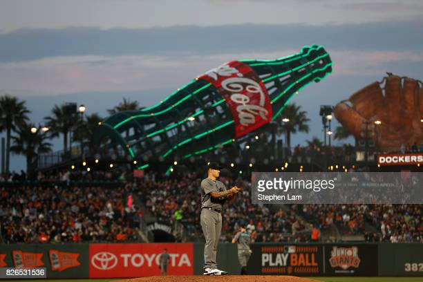 Starting pitcher Anthony Banda of the Arizona Diamondbacks is seen on the mound during the fourth inning against the San Francisco Giants at ATT Park...