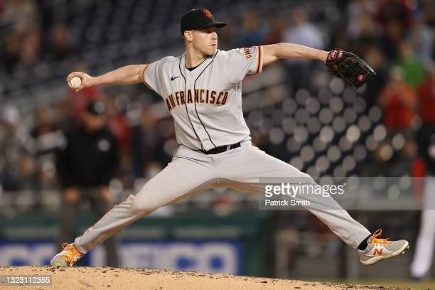 Starting pitcher Anthony DeSclafani of the San Francisco Giants works the ninth inning against the Washington Nationals at Nationals Park on June 11,...