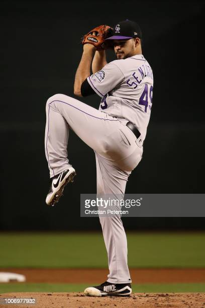 Starting pitcher Antonio Senzatela of the Colorado Rockies throws a warm up pitch during the MLB game against the Arizona Diamondbacks at Chase Field...
