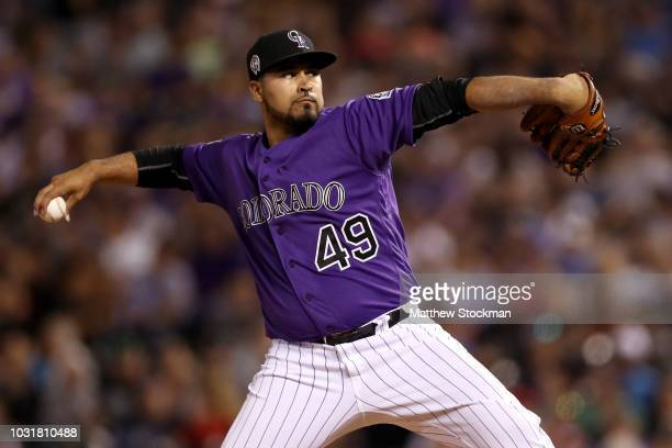 Starting pitcher Antonio Senzatela of the Colorado Rockies throws in the sixth inning against the Arizona Diamondbacks at Coors Field on September 11...
