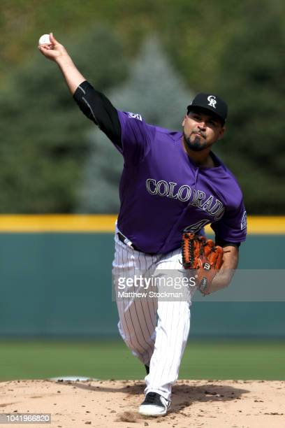 Starting pitcher Antonio Senzatela of the Colorado Rockies throws in the first inning against the Philadelphia Phillies at Coors Field on September...