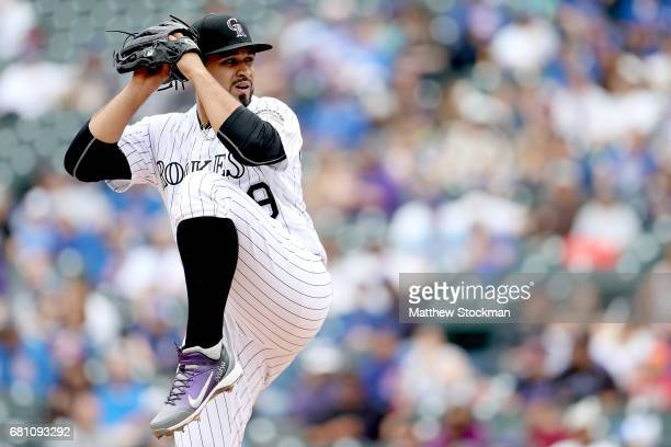 Starting pitcher Antonio Senzatela of the Colorado Rockies throws in the fourth inning against the Chicago Cubs at Coors Field on May 9 2017 in...
