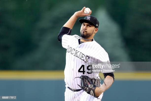 Starting pitcher Antonio Senzatela of the Colorado Rockies throws in the first inning against St Louis Cardinals at Coors Field on May 26 2017 in...