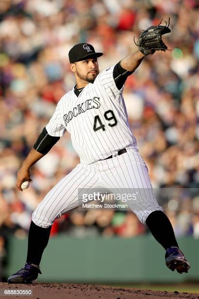 Starting pitcher Antonio Senzatela of the Colorado Rockies throws in the fourth inning against St Louis Cardinals at Coors Field on May 26 2017 in...