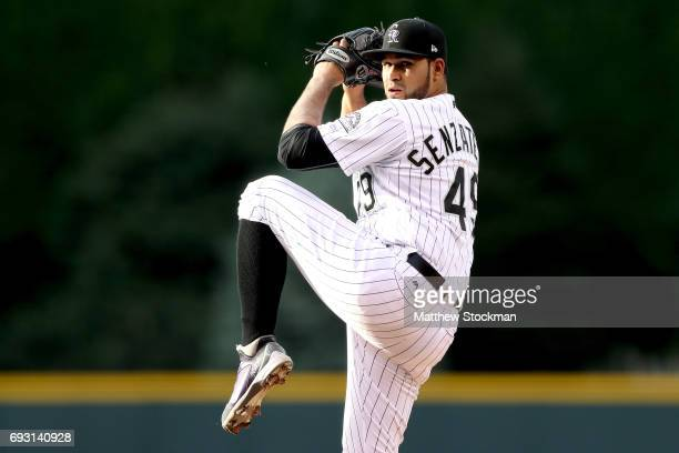 Starting pitcher Antonio Senzatela of the Colorado Rockies throws in the first inning against the Cleveland Indians at Coors Field on June 6 2017 in...