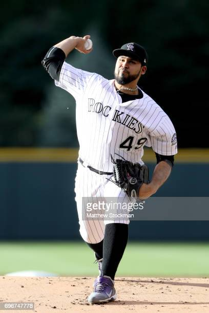 Starting pitcher Antonio Senzatela of the Colorado Rockies throws in the first inning against the San Francisco Giants at Coors Field on June 16 2017...