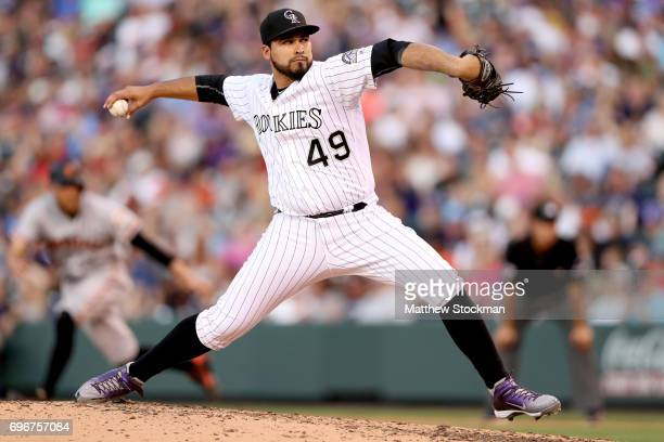 Starting pitcher Antonio Senzatela of the Colorado Rockies throws in the fourth inning against the San Francisco Giants at Coors Field on June 16...
