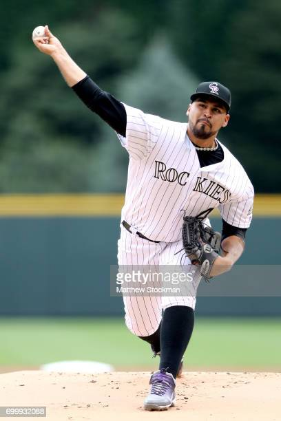 Starting pitcher Antonio Senzatela of the Colorado Rockies throws in the first inning against the Arizona Diamondbacks at Coors Field on June 22 2017...