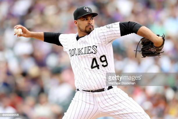 Starting pitcher Antonio Senzatela of the Colorado Rockies throws in the fifth inning against the Arizona Diamondbacks at Coors Field on June 22 2017...