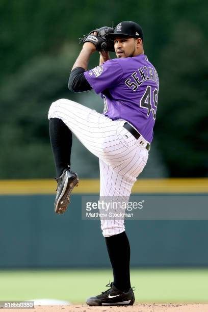 Starting pitcher Antonio Senzatela of the Colorado Rockies throws in the first inning against the San Diego Padres at Coors Field on July 18 2017 in...