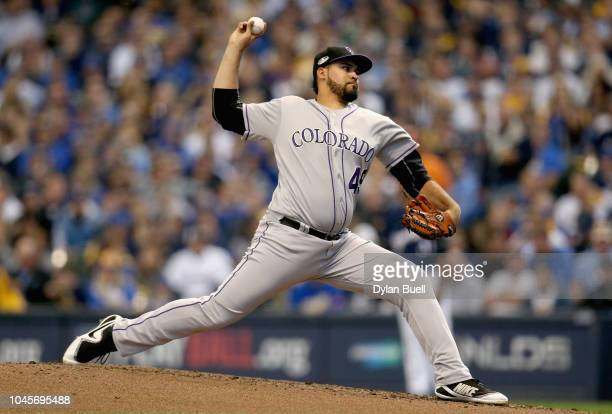 Starting pitcher Antonio Senzatela of the Colorado Rockies throws during the first inning of Game One of the National League Division Series against...