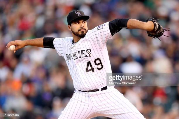 Starting pitcher Antonio Senzatela of the Colorado Rockies throws against the San Francisco Giants at Coors Field on April 22 2017 in Denver Colorado