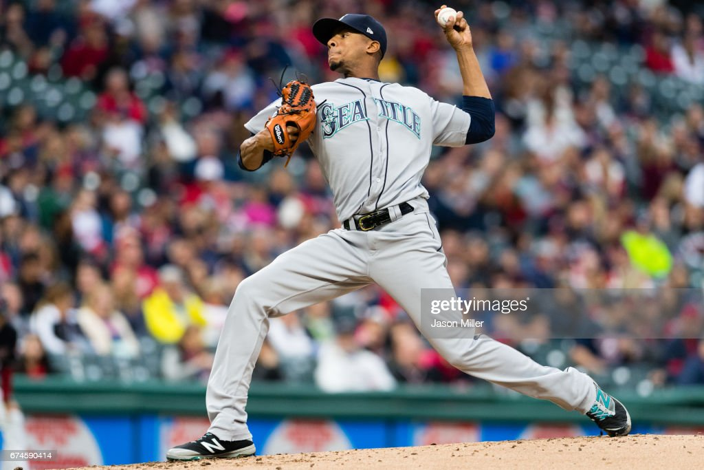 Starting pitcher Ariel Miranda #37 of the Seattle Mariners pitches during the first inning against the Cleveland Indians at Progressive Field on April 28, 2017 in Cleveland, Ohio.