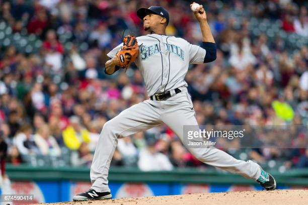 Starting pitcher Ariel Miranda of the Seattle Mariners pitches during the first inning against the Cleveland Indians at Progressive Field on April 28...