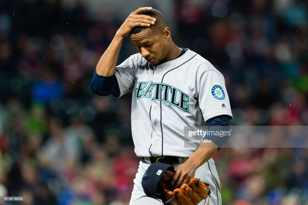 Starting pitcher Ariel Miranda #37 of the Seattle Mariners reacts as he leaves the game during the sixth inning against the Cleveland Indians at Progressive Field on April 28, 2017 in Cleveland, Ohio. The Mariners defeated the Indians 3-1.