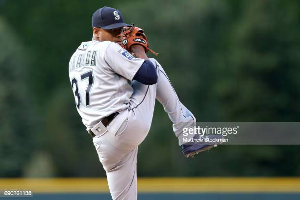 Starting pitcher Ariel Miranda of the Seattle Mariners throws in the first inning against the Colorado Rockies at Coors Field on May 30 2017 in...