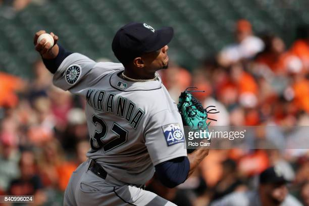 Starting pitcher Ariel Miranda of the Seattle Mariners throws to a Baltimore Orioles batter in the second inning at Oriole Park at Camden Yards on...