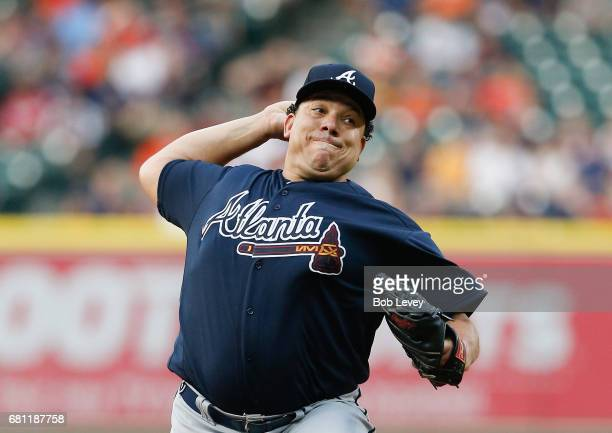 Starting pitcher Bartolo Colon of the Atlanta Braves pitches in the first inning against the Houston Astros at Minute Maid Park on May 9 2017 in...