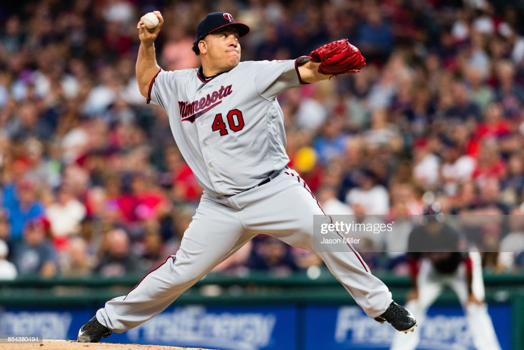 Starting pitcher Bartolo Colon #40 of the Minnesota Twins pitches during the first inning against the Cleveland Indians at Progressive Field on September 26, 2017 in Cleveland, Ohio.