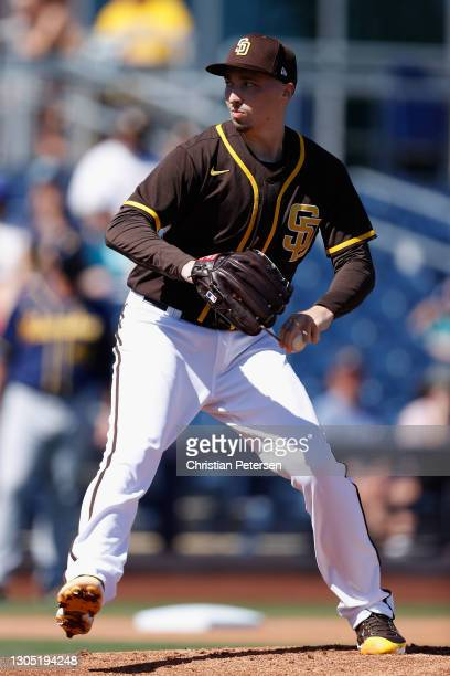 Starting pitcher Blake Snell of the San Diego Padres pitches against the Milwaukee Brewers during the first inning of the MLB spring training game on...