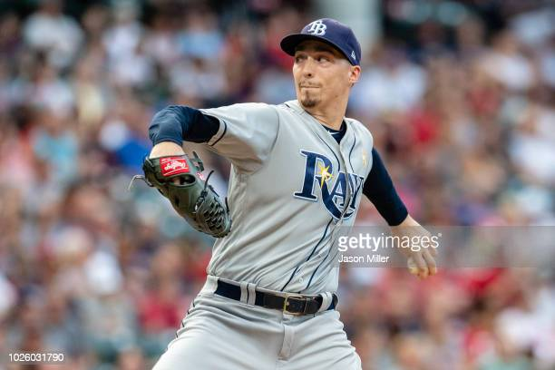 Starting pitcher Blake Snell of the Tampa Bay Rays pitches during the first inning against the Cleveland Indians at Progressive Field on September 1...