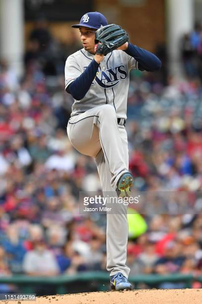 Starting pitcher Blake Snell of the Tampa Bay Rays pitches during the first inning against the Cleveland Indians at Progressive Field on May 24 2019...