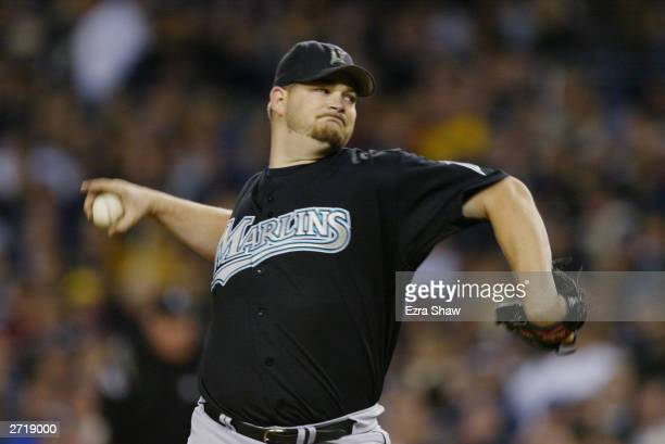 Starting pitcher Brad Penny of the Florida Marlins pitches during game 1 of the Major League Baseball World Series against the New York Yankees on...