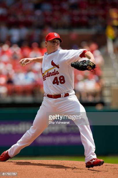 Starting pitcher Brad Thompson of the St Louis Cardinals throws against the Kansas City Royals on June 19 2008 at Busch Stadium in St Louis Missouri...
