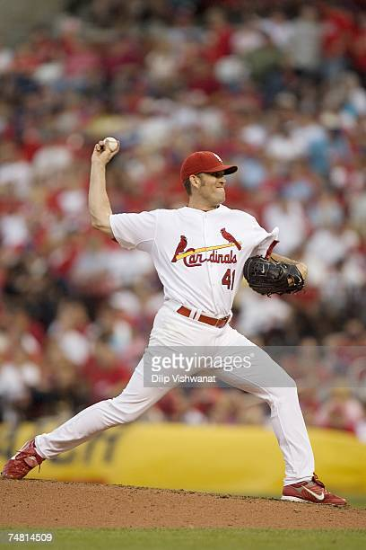 Starting pitcher Braden Looper of the St. Louis Cardinals throws against the Los Angeles Angels during their MLB game on June 9, 2007 at Busch...
