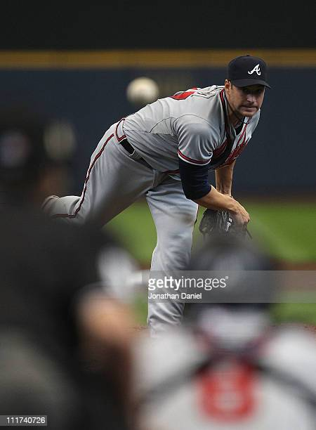 Starting pitcher Brandon Beachy of the Atlanta Braves delivers the ball against the Milwaukee Brewers during the home opener at Miller Park on April...