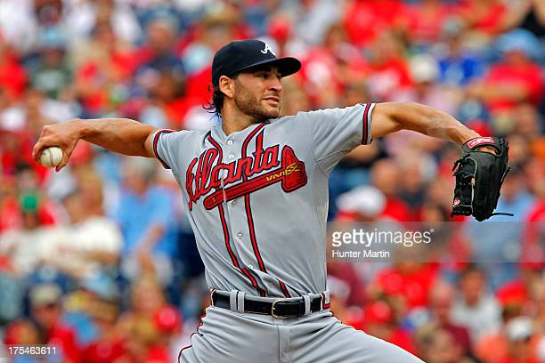 Starting pitcher Brandon Beachy of the Atlanta Braves throws a pitch during a game against the Philadelphia Phillies at Citizens Bank Park on August...