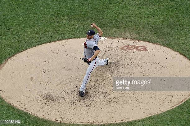 Starting pitcher Brandon Beachy of the Atlanta Braves throws to a Washington Nationals batter during the fifth inning at Nationals Park on August 3...