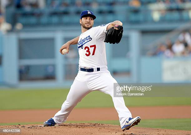 Starting pitcher Brandon Beachy throws against the Milwaukee Brewers as he makes his Dodgers debut completing a comeback from a second Tommy John...