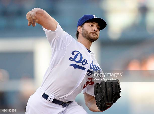 Starting pitcher Brandon Beachy throws against the Milwaukee Brewers as he makes his Dodgers debut, completing a comeback from a second Tommy John...