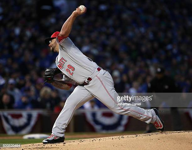 Starting pitcher Brandon Finnegan of the Cincinnati Reds delivers the ball against the Chicago Cubs during the home opener at Wrigley Field on April...