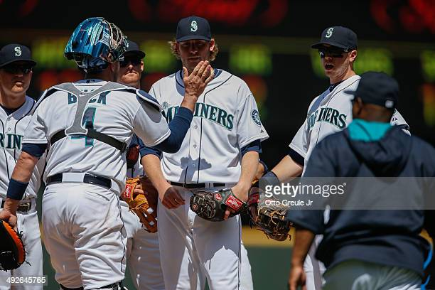 Starting pitcher Brandon Maurer of the Seattle Mariners is removed from the game by manager Lloyd McClendon in the fourth inning against the Tampa...