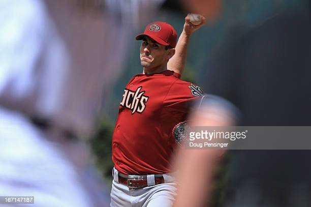 Starting pitcher Brandon McCarthy of the Arizona Diamondbacks delivers against the Colorado Rockies at Coors Field on April 21 2013 in Denver Colorado