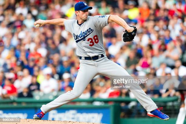 Starting pitcher Brandon McCarthy of the Los Angeles Dodgers pitches during the first inning against the Cleveland Indians at Progressive Field on...