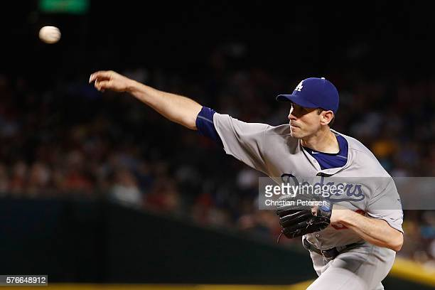 Starting pitcher Brandon McCarthy of the Los Angeles Dodgers throws a pitch during the first inning of the MLB game against the Arizona Diamondbacks...