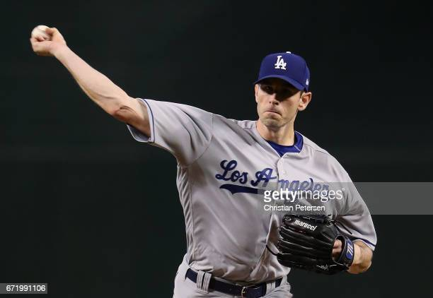 Starting pitcher Brandon McCarthy of the Los Angeles Dodgers throws a warm up pitch before the MLB game against the Arizona Diamondbacks at Chase...