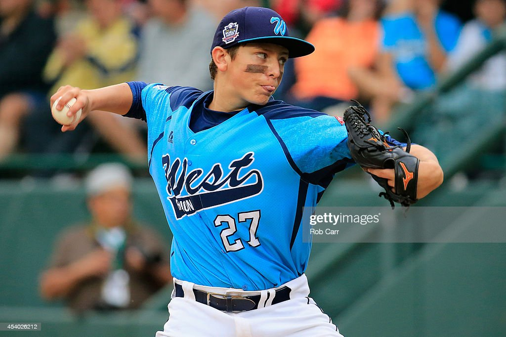 Starting pitcher Brennan Holligan #27 of of the West Team from Las Vegas, Nevada throws to a batter from the Great Lakes Team from Chicago, Illinois during the fourth inning of the United States Championship game of the Little League World Series at Lamade Stadium on August 23, 2014 in South Williamsport, Pennsylvania.