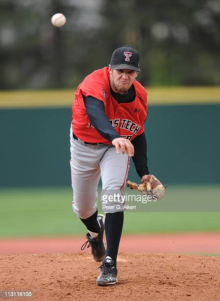 Starting pitcher Brennan Stewart of the Texas Tech Red Raiders delivers a pitch against the Kansas State Wildcats in the first inning on April 23,...