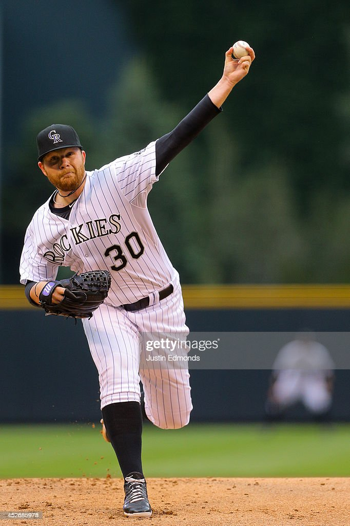 Starting pitcher Brett Anderson #30 of the Colorado Rockies delivers to home plate during the first inning against the Pittsburgh Pirates at Coors Field on July 25, 2014 in Denver, Colorado.