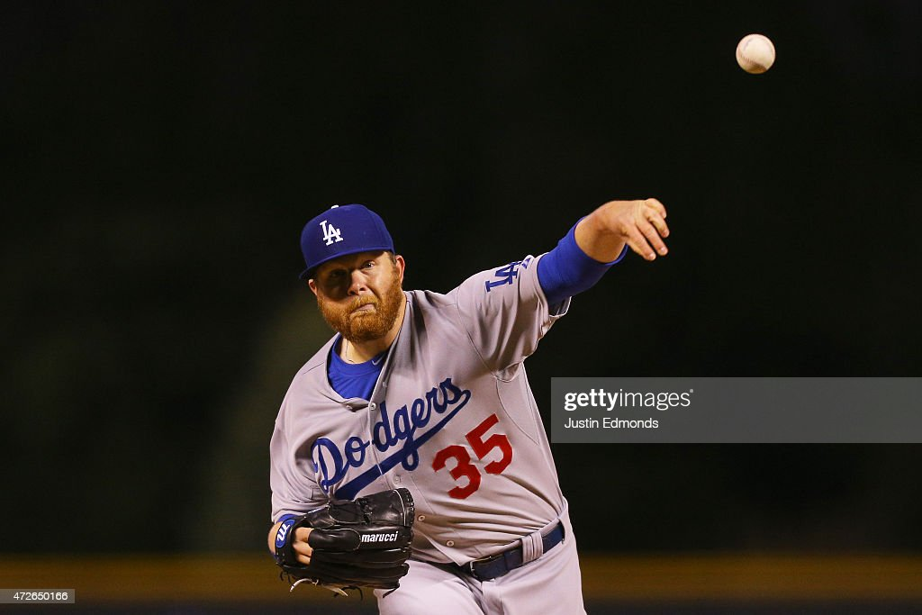 Starting pitcher Brett Anderson #35 of the Los Angeles Dodgers delivers to home plate during the first inning against the Colorado Rockies at Coors Field on May 8, 2015 in Denver, Colorado.