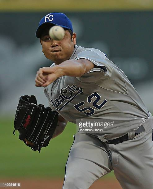 Starting pitcher Bruce Chen of the Kansas City Royals delivers the ball against the Chicago White Sox at US Cellular Field on August 7 2012 in...